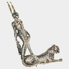 Erte Lady with Leopard 14k Pendant/pin with Diamonds & Rubies