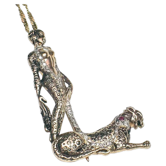 CLEARANCE SALE! Erte Lady with Tiger 14k Pendant/pin with Diamonds & Rubies-FREE SHIPPING in USA, CANADA