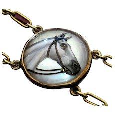 Remarkable 14k Gold Essex Crystal HORSE Bracelet
