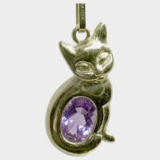 CYBER WEEK SALE! 50% Off!Adorable 10k Amethyst Cat/Kitty Pendant on 14k Box Chain