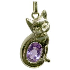 CHRISTMAS CLEARANCE. Save 40%! Adorable 10k Amethyst Cat/Kitty Pendant on 14k Box Chain-FREE shipping in Canada and USA