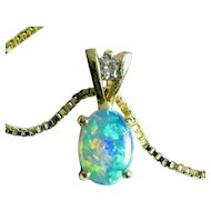 "14k OPAL Diamond pendant on 18"" 14k Italian Box Chain"