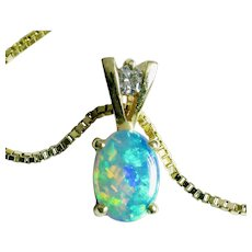 "14k OPAL Diamond pendant on 18"" 14k Italian Box Chain-FREE SHIPPING in Canada & US"