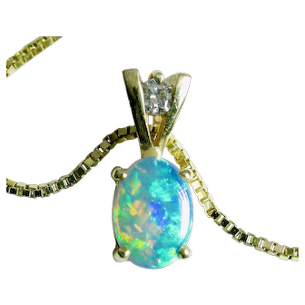 "14k OPAL Diamond pendant on 18"" 14k Italian Box Chain-Delightful!"