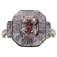 Rare NATURAL Fancy Deep Orangy-Pink Diamond Engagement Ring