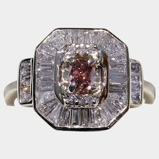 Rare NATURAL Fancy Deep Orangy-Pink Diamond Engagement Ring