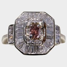 Rare NATURAL Color Fancy Deep Orangy-Pink Diamond Engagement Ring