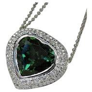 "MEMORIAL DAY SALE - SAVE $700! Stunning Vintage Designer ""Heart"" Tourmaline Diamond Necklace"