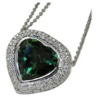 "Stunning Vintage Designer ""Heart"" Tourmaline Diamond Necklace"