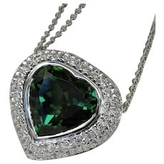 "Summer Lovin'! Vintage Designer ""Heart"" Tourmaline Diamond Necklace"