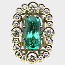 GIA 6.84ct Copper-Bearing PARAIBA Tourmaline Diamond Ring