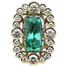 GIA 6.84ct Copper-Bearing PARAIBA Tourmaline Diamond Ring