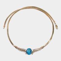 Brilliant Blue 14k Topaz Diamond Necklace