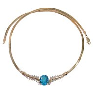 14k Blue Topaz Diamond Necklace. FREE shipping in Canada & USA too.