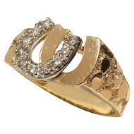 UNISEX 14k Yellow Gold Diamond Double Horseshoe Ring