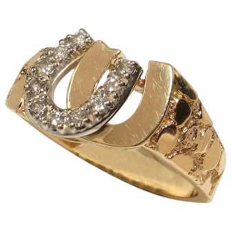 UNISEX 14k Yellow Gold Diamond Double Horseshoe Ring-FREE SHIPPING in CAnada & USA