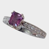 Signed JAFFE Diamond Studded NO HEAT Purple Sapphire Ring
