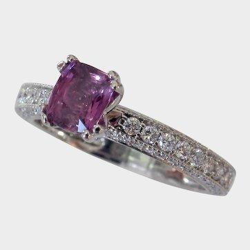 Signed JAFFE Diamond Studded NO HEAT Purple Sapphire Ring