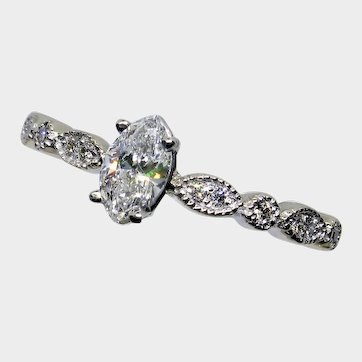 Darling 18kt Marquise Diamond Engagement Ring