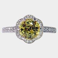 Vivid 1.39ct NO HEAT Yellow Sapphire Diamond Ring
