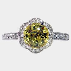 Vivid 1.39ct NO HEAT Yellow Sapphire Diamond Ring