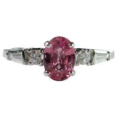 Beautiful NO HEAT Natural Padparadscha Sapphire & Diamond Ring