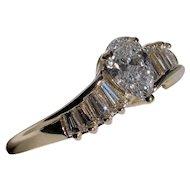 Gorgeous Pear & Baguette Cut Diamond Engagement Ring