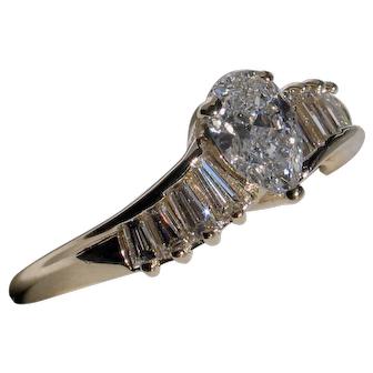 Gorgeous Pear & Baguette Cut Diamond Engagement Ring