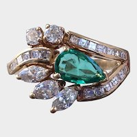 Piercing EMERALD and Diamond Cocktail Ring