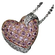 Beautiful 18kt Pink Sapphire & Diamond Pendant Necklace