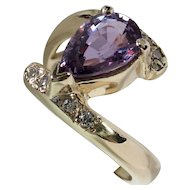 Beautiful Unheated Purple Sapphire & Diamond Bypass Ring