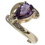 MEMORIAL DAY SALE - SAVE $700! Beautiful Unheated Purple Sapphire & Diamond Bypass Ring