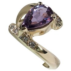 CLEARANCE: Bottom Prices NOW! Beautiful Unheated Purple Sapphire & Diamond Bypass Ring