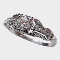 "Darling ""Rays of Love"" Vintage Diamond Engagement Ring"