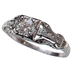 """Darling """"Rays of Love"""" Vintage Diamond Engagement Ring"""