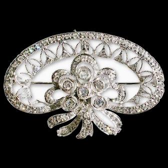 MAKE an OFFER on this 18k White Gold Custom-made Vintage Diamond Pendant/Pin-Dazzling Glitter!