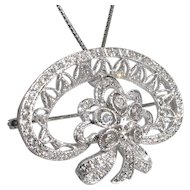 18k White Gold Custom-made Vintage Diamond Pendant/Pin-Dazzling Glitter!