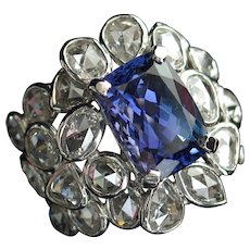Spectacular 8.39ctw Vintage Tanzanite & Rose Cut Diamond Cocktail Ring