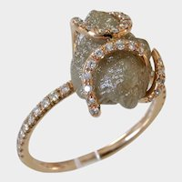 Fabulous 5ct ROUGH Uncut 18kt Rose Gold Diamond Ring