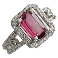 CHRISTMAS CLEARANCE. Save 50% on this Purplish-Red Spinel & Diamond Cocktail Ring-Designer Signed