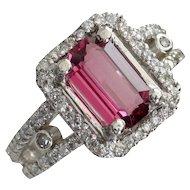 Purplish-Red Spinel & Diamond Cocktail Ring-Designer Signed