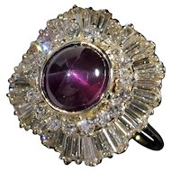 Exceptional Natural Purple STAR Sapphire Diamond Ring