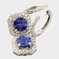 Glorious 18kt Diamond Tanzanite Earrings