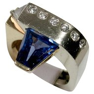 BRILLIANT Designer Fancy Cut Tanzanite & Diamond Ring