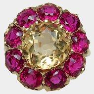 Astounding 15ct Antique Victorian Citrine & Paste Gemstone Ring