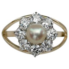 "Breathtaking VICTORIAN ""Daisy"" Cultured Pearl Diamond Ring"