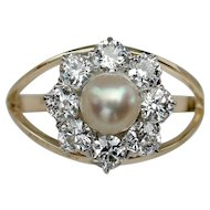 "MEMORIAL DAY SALE - SAVE $400! Breathtaking VICTORIAN ""Daisy"" Cultured Pearl Diamond Ring"