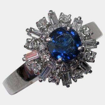 Flirty & Fabulous 1960's Sapphire Diamond Cocktail Ring