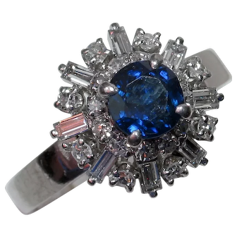 Flirty & Fabulous 1960's Sapphire Diamond Cocktail Ring