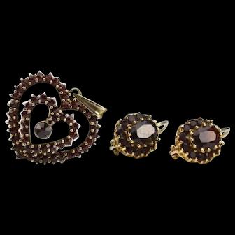 Vintage Set of 14k Garnet Earrings with Silver Gilt Garnet Heart Pendant